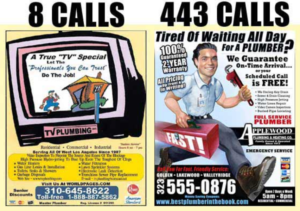 Plumbers advertising in YP